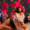 Photos of plus-size pop artist LIZZO, in front of a floral background. Oil paint texture is on top.