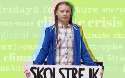 Young activist Greta Thurnburg holding a sign over a green background