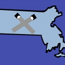 Massachussetts border filled in with light blue, a dark blue background, and in front of it, two juuls forming an X over the state