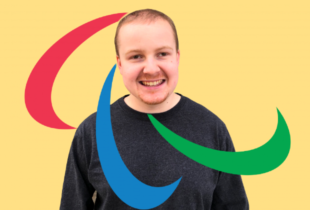 Nick Claudio edited over a yellow background with the Paralympic symbol.