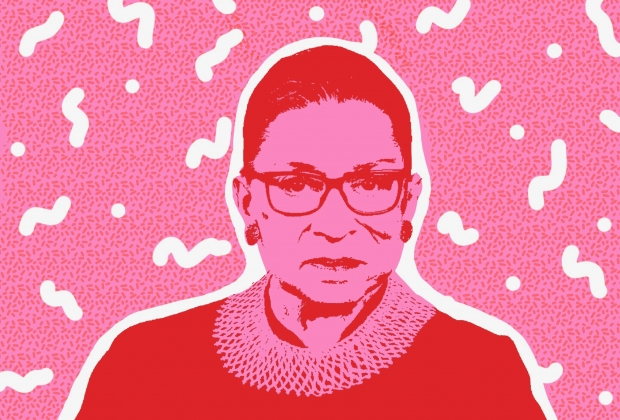 red and pink image of ruth bader ginsburg with a pattern in the background