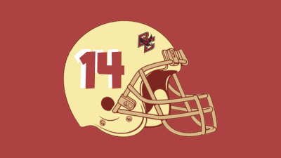 red background with yellow helmet and the number 14