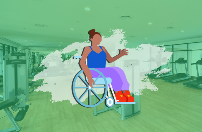 cartoon woman in a wheelchair in a gym setting