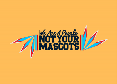 "Logo reading ""We are a people, not your mascots."""
