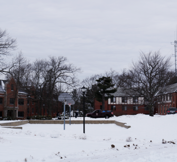 Dorms on upper campus in the snow