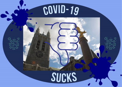 "Photo of gasson with a thumbs down over it, saying ""COVID-19 SUCKS."""