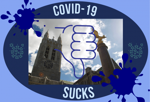 """Photo of gasson with a thumbs down over it, saying """"COVID-19 SUCKS."""""""