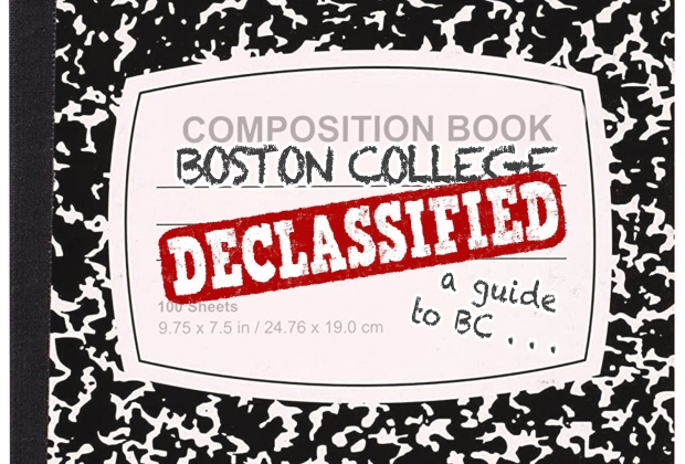 "A composition notebook reading ""Boston College Declassified, a guide to BC"""