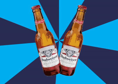 Graphic of two budweiser bottles over a pinwheel background