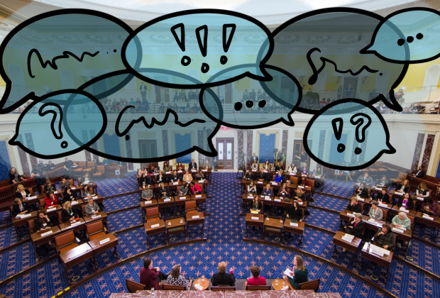 Graphic design of the senate floor seats with angry speech bubbles above it.