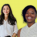 Chanel Miller and Patrisse Cullors over a bright yellow background