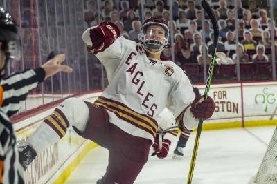 Hockey player celebrating
