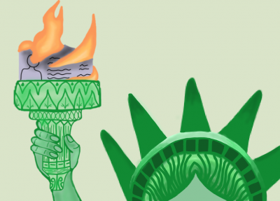 Lady Liberty with immigrant papers burning in her torch.