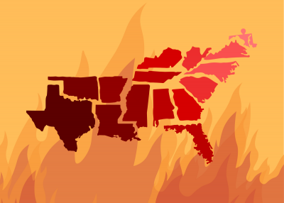 The southern states in a red gradient over fire