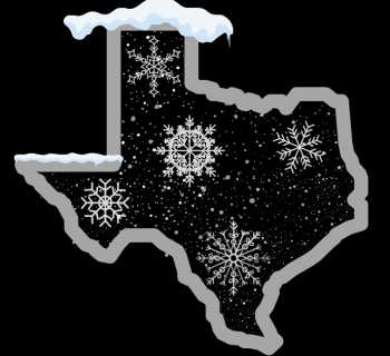 Texas outline over snow, frozen over